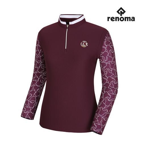 [레노마골프]여성 소매 패턴 배색 반집업 긴팔 티셔츠 RWTPH7112-415_G