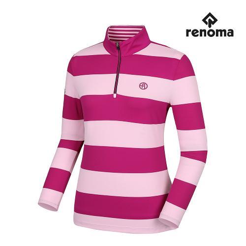 [레노마골프]여성 스트라이프 프린팅 반집업 긴팔 티셔츠 RWTPG7109-403_G