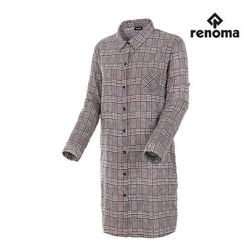 [레노마골프]여성 글렌체크 롱 코튼 셔츠 RWBSH7607-505_G