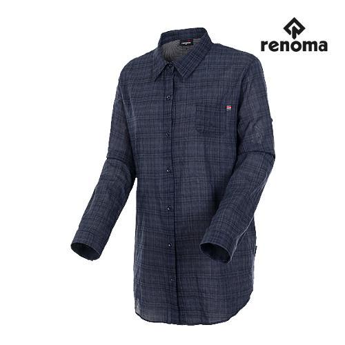 [레노마골프]여성 체크 다운 롱 코튼 셔츠 RWBSH7606-915_G
