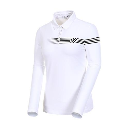 [볼빅골프웨어] 여성 골프 스트라이프 카라 긴팔 티셔츠 VLTSJ992_WH