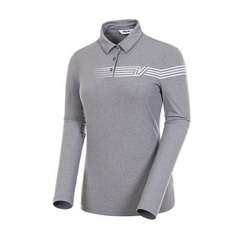 [볼빅골프웨어] 여성 골프 스트라이프 카라 긴팔 티셔츠 VLTSJ992_MG