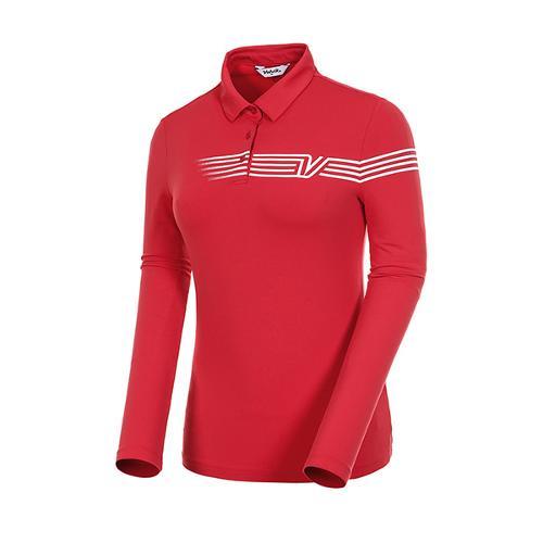 [볼빅골프웨어] 여성 골프 스트라이프 카라 긴팔 티셔츠 VLTSJ992_RE
