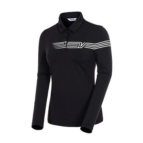 [볼빅골프웨어] 여성 골프 스트라이프 카라 긴팔 티셔츠 VLTSJ992_BK