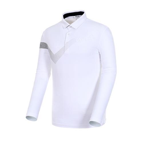 [볼빅골프웨어] 남성 골프 스트라이프 카라 긴팔 티셔츠 VMTSJ992_WH
