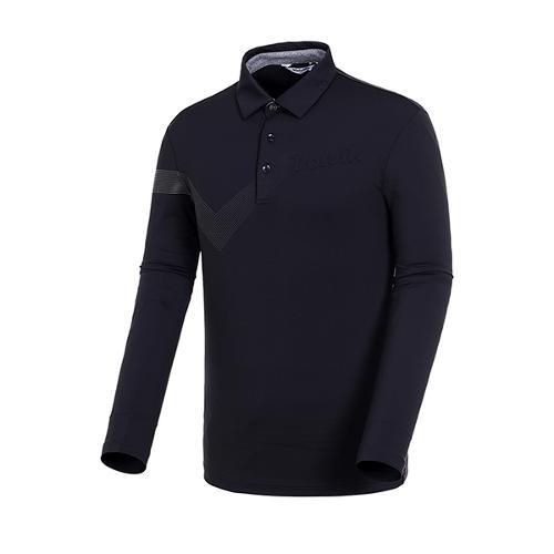 [볼빅골프웨어] 남성 골프 스트라이프 포인트 카라 긴팔 티셔츠 VMTSJ992_BK