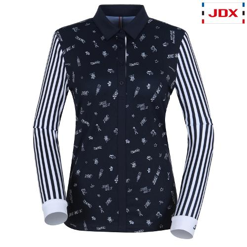 JDX 여성 몸판 프린트 카라 티셔츠 X2QFTLW54DN