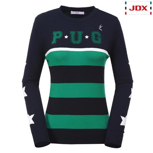 JDX 여성 소매 모티브포인트 라운드 스웨터 X2QFSPW51DN