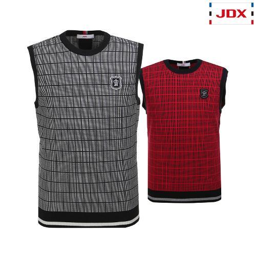 JDX 남성 시즌사각 체크패턴 스웨터베스트 2종 택1 X1QFSVM01