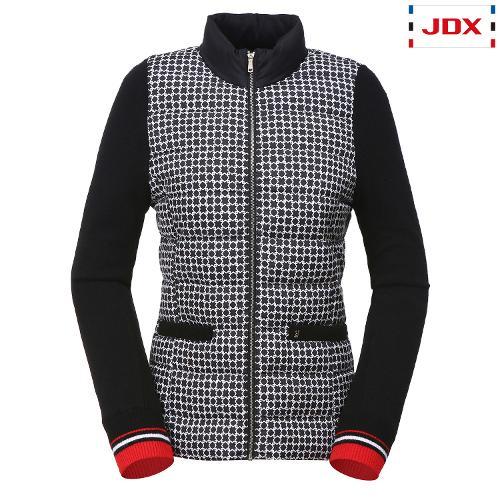 JDX 여성 전판 패턴 프린트 소매 니트 경량 다운 X1QFWDW51BK