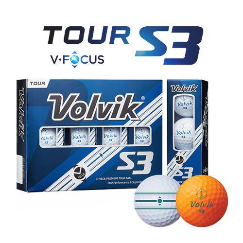 [펜타5트랙]볼빅 TOUR S3 V-FOCUS라인 3피스 우레탄 골프볼-12알
