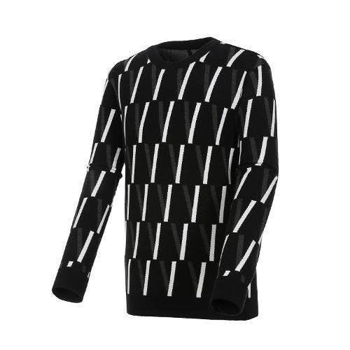 [볼빅골프웨어] 남성 골프 빅V 패턴 라운드 풀오버 VMKTL903_BK