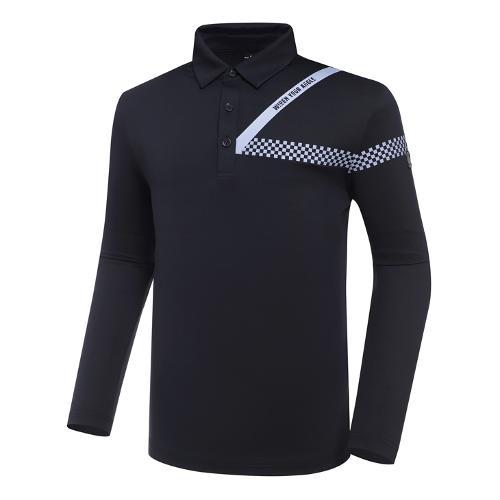 [와이드앵글] 남성 CF 체커 원포인트 폴로 긴팔 티셔츠 M WMU21241N4