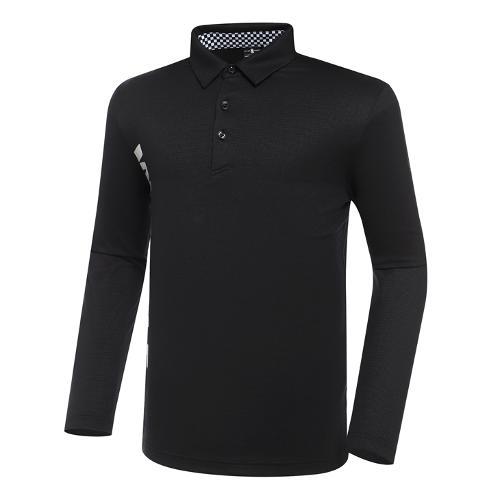 [와이드앵글] 남성 CF 체커 배색 폴로 긴팔 티셔츠 M WMU21242Z1