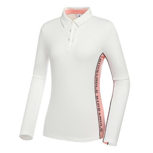 [와이드앵글] 여성 CF 프릴 포인트 카라 긴팔 티셔츠 L WWU21243W2