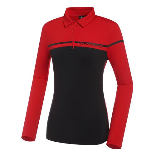 [와이드앵글] 여성 VA 보더 폴로 긴팔 티셔츠 L WWU21292R2