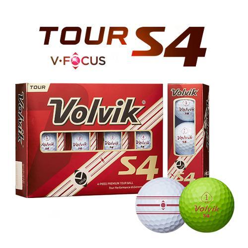 [펜타5트랙]볼빅 TOUR S4 V-FOCUS라인 4피스 우레탄 골프볼-12알