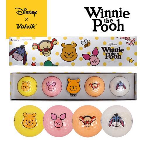 [선물세트]볼빅 Winnie the Pooh 곰돌이 푸우 솔리체 롱4구+푸우볼마커