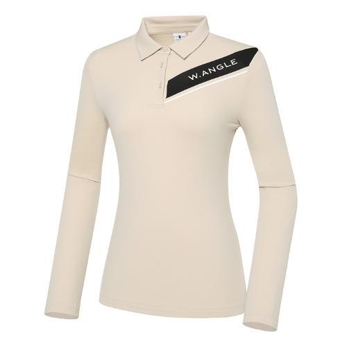 [와이드앵글] 여성 VA 사선 포인트 프린트 폴로 긴팔 티셔츠 L WWW21293E2