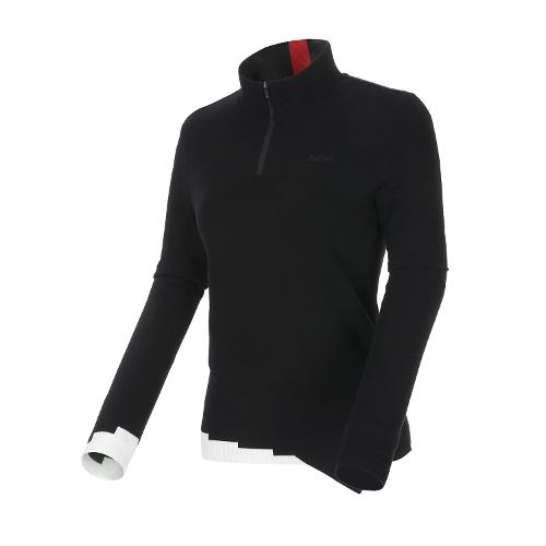 [볼빅골프웨어] 여성 골프 밑단변형 반집업 방풍스웨터 VLKTL904_BK
