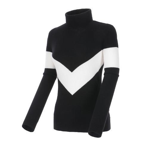 [볼빅골프웨어] 여성 골프 캐시미어 터틀넥 스웨터 VLKTL975_BK