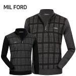 [MIL FORD] 밀포드 울 체크 니트 집업티셔츠 Model No_I2-0W165