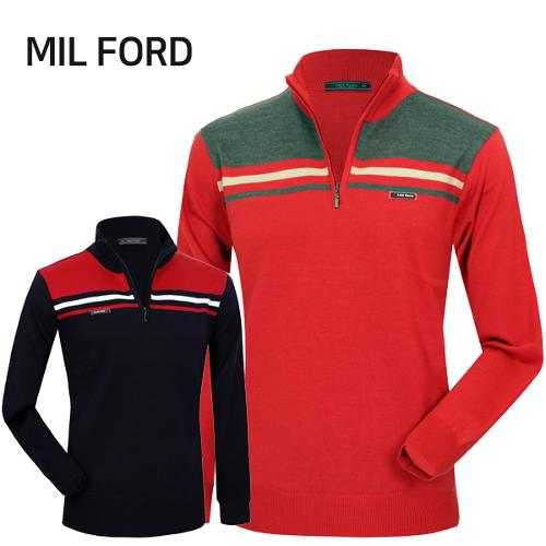 [MIL FORD] 밀포드 컬러 배색 라인 집업 니트티셔츠 Model No_I2-0W161
