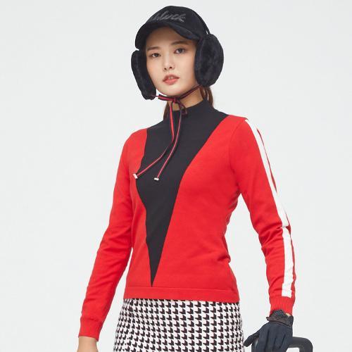 [볼빅골프웨어] 여성 골프 삼각 배색 방풍 스웨터 VLKTLA01_RE