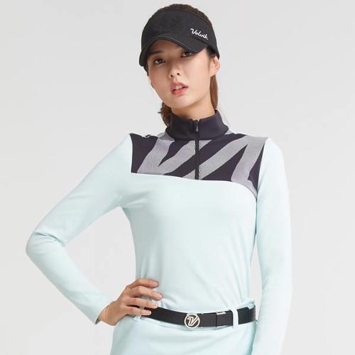 [볼빅골프웨어] 여성 골프 프린트 포인트 반집업 긴팔 티셔츠 VLTSKA07_LM