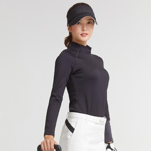 [볼빅골프웨어] 여성 골프 기모 언발란스 반폴라 긴팔 티셔츠 VLTSKA03_BK