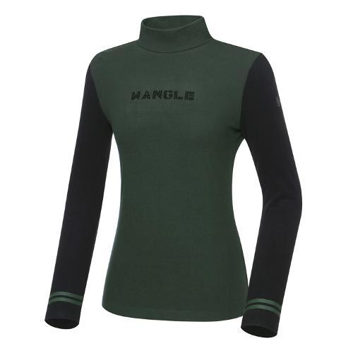 [와이드앵글] 여성 CF 기모 배색 하이넥 긴팔 티셔츠 L WWW21241K7