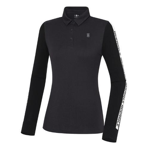 [와이드앵글] 여성 CF 니트 소매 카라 긴팔 티셔츠 L WWW21243Z1