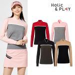 홀릭앤플레이 여성 배색 변형 니트 스웨터 HA3WSW001R