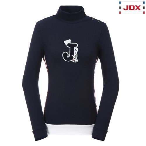 JDX 여성 사이바 배색포인트 반넥 티셔츠 X2QWTLW52DN